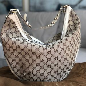 Authentic Gucci Half Moon Canvas Hobo